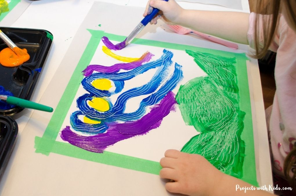 Painting a van gogh inspired painting with acrylic paint.
