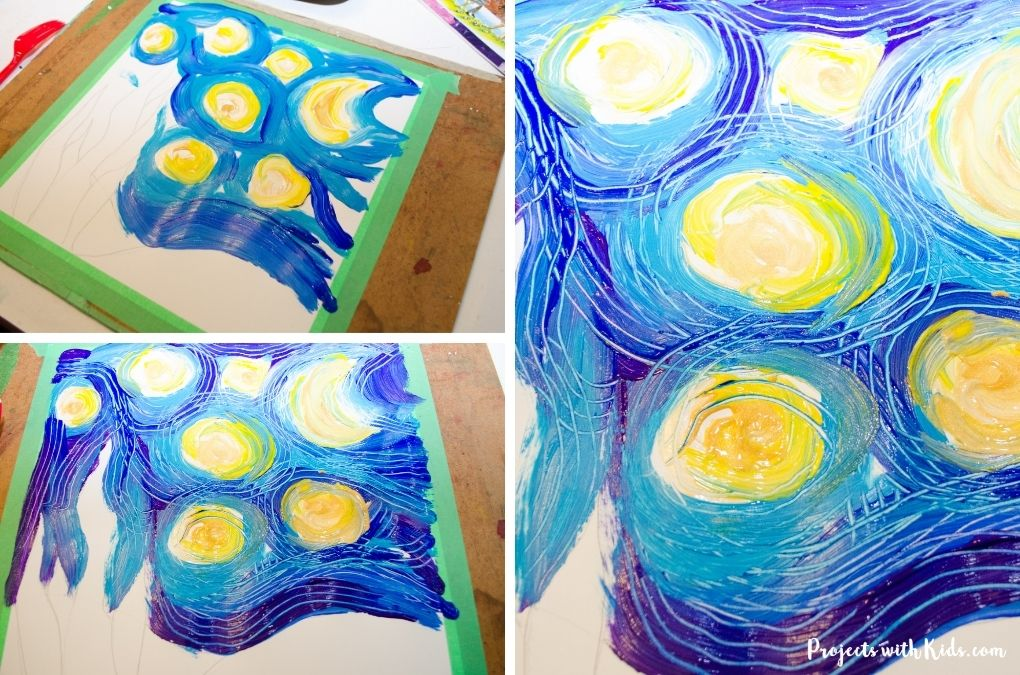 Using a fork to paint a Van Gogh inspired painting for kids.