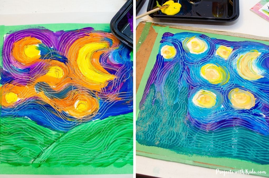 Van gogh inspired art project for kids to make.