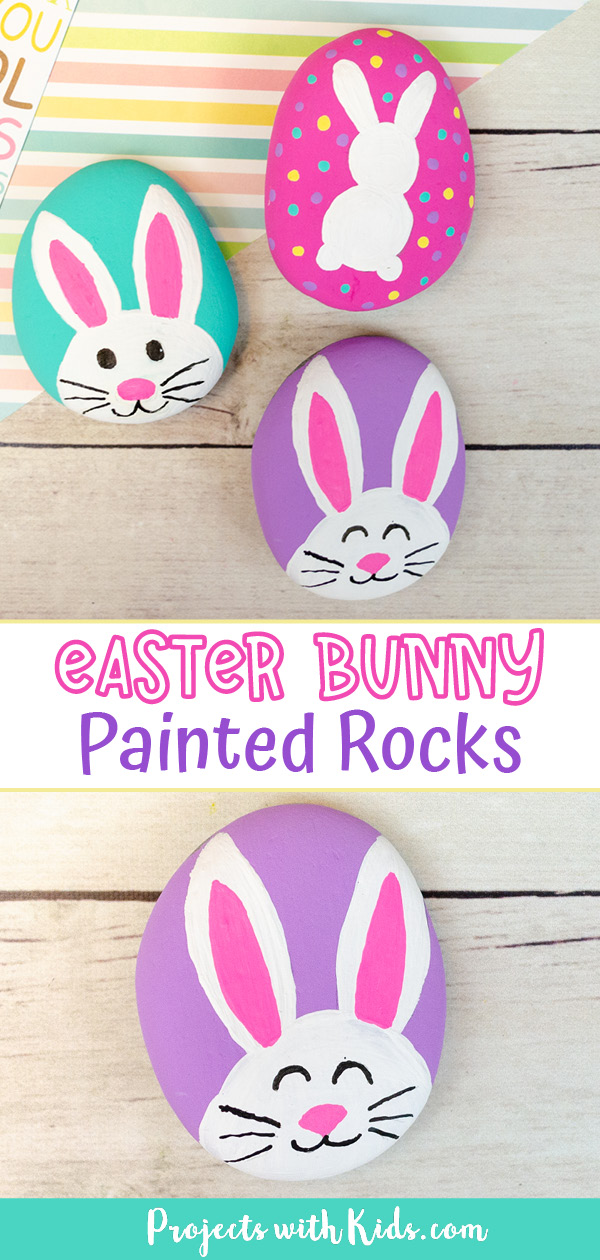 Bunny painted rocks for kids to make.