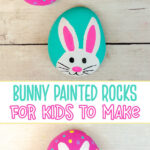 Easter bunny painted rocks for kids to make