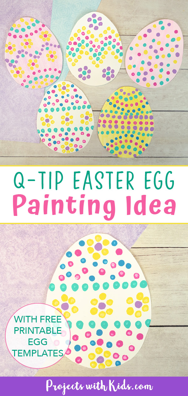 Q-tip Easter egg painting easy art project for kids.