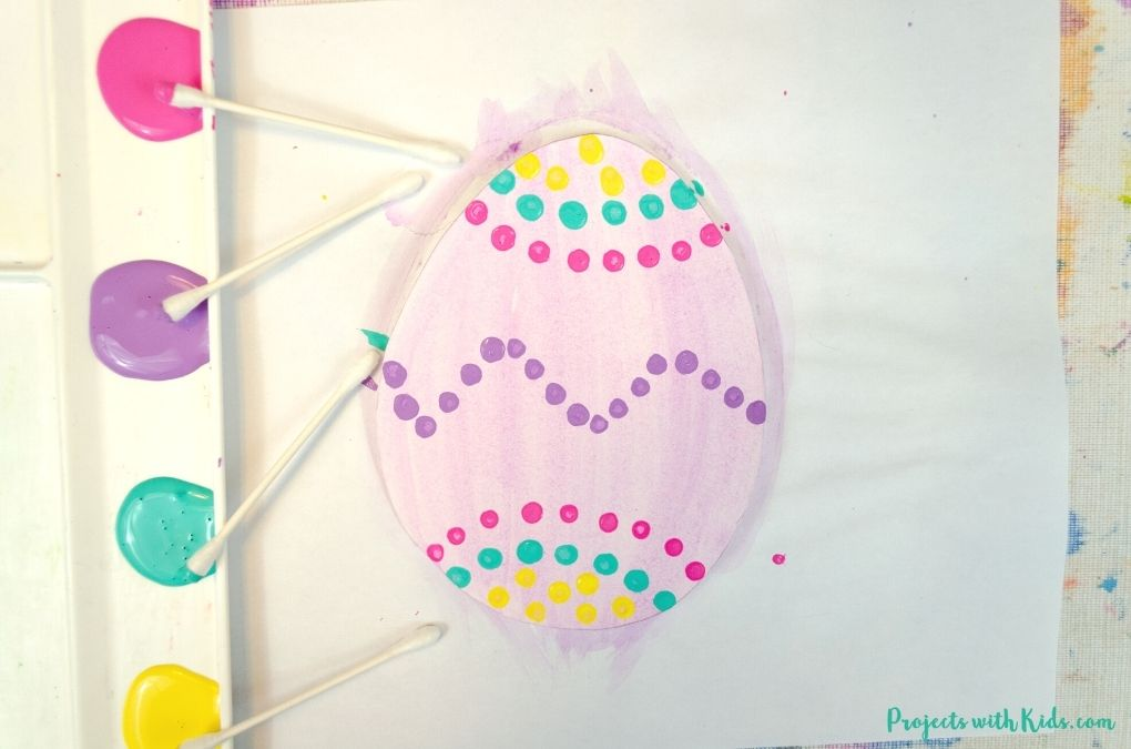 Easter egg painting idea with q-tips