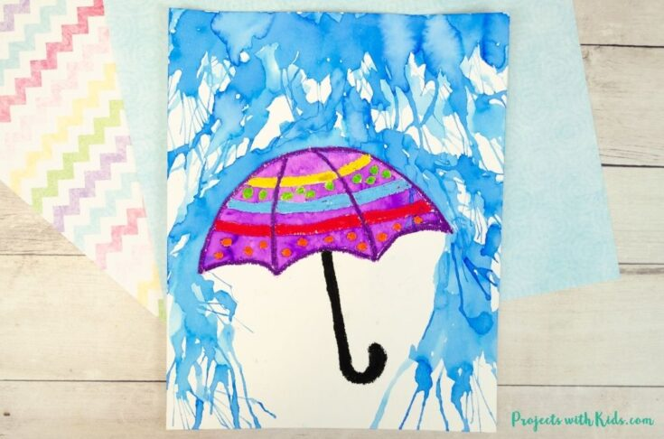 Watercolor rainy day painting with an umbrella