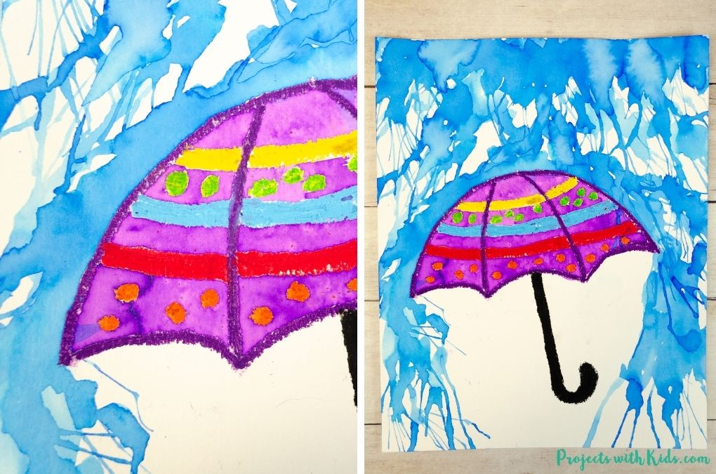 Watercolor rainy day painting with an umbrella for kids to make