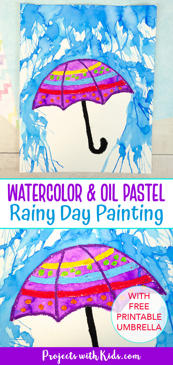 Rainy day painting with colorful umbrella using watercolors and oil pastels.