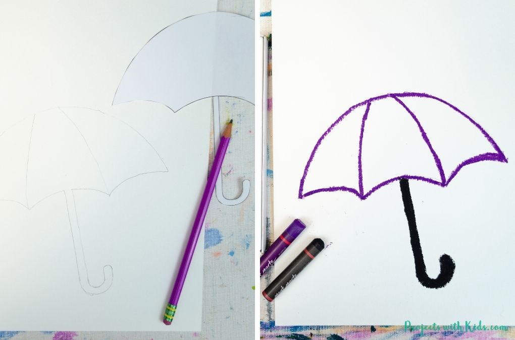 Drawing an umbrella with oil pastels on watercolor paper.