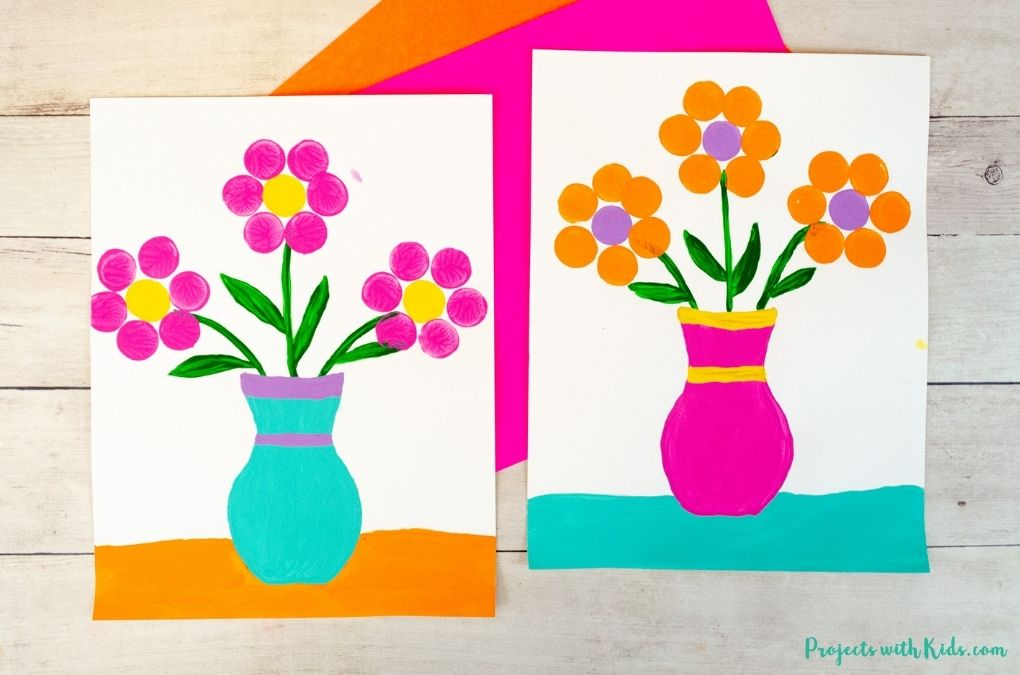 Cork stamped flower painting spring art project idea for kids to make