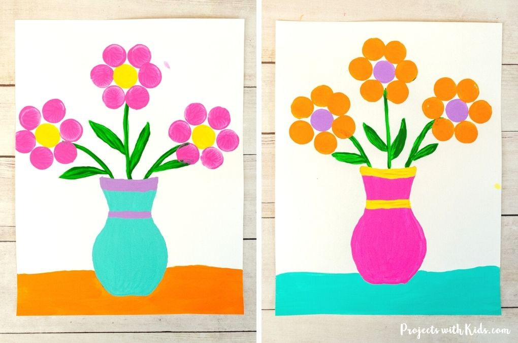 This cork stamped flower painting is a fun and easy art project that kids will love! A great Mother's Day painting idea or spring craft. Free printable vase template included.