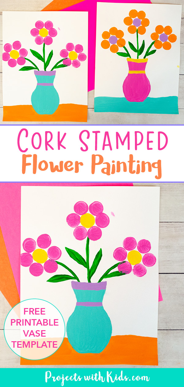 Cork stamped flowers in a vase painting idea for kids