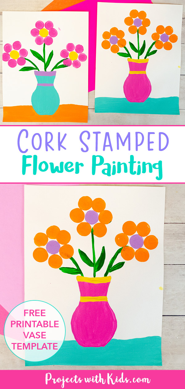 Cork stamped flower painting for kids to make