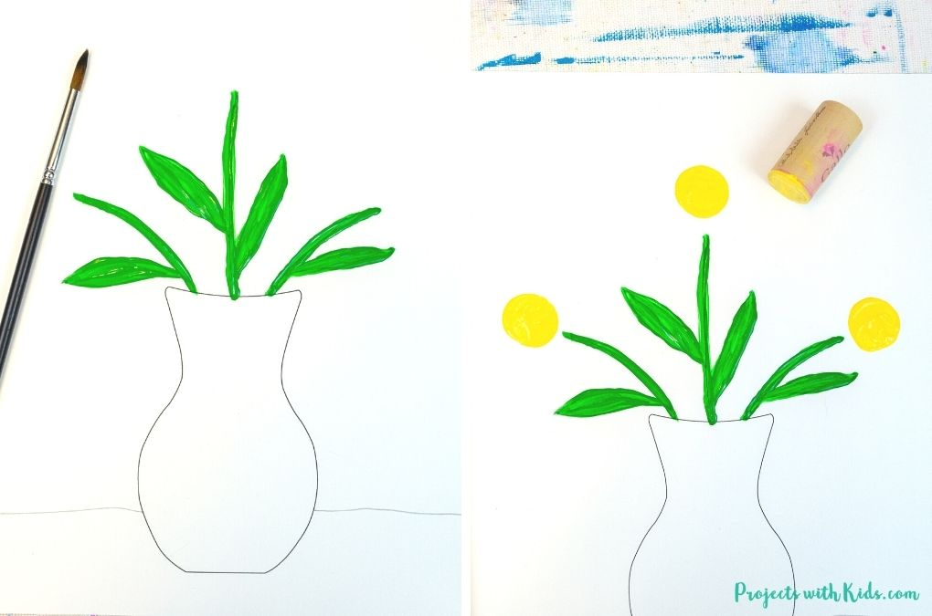 Painting a vase with flowers Mother's Day painting idea