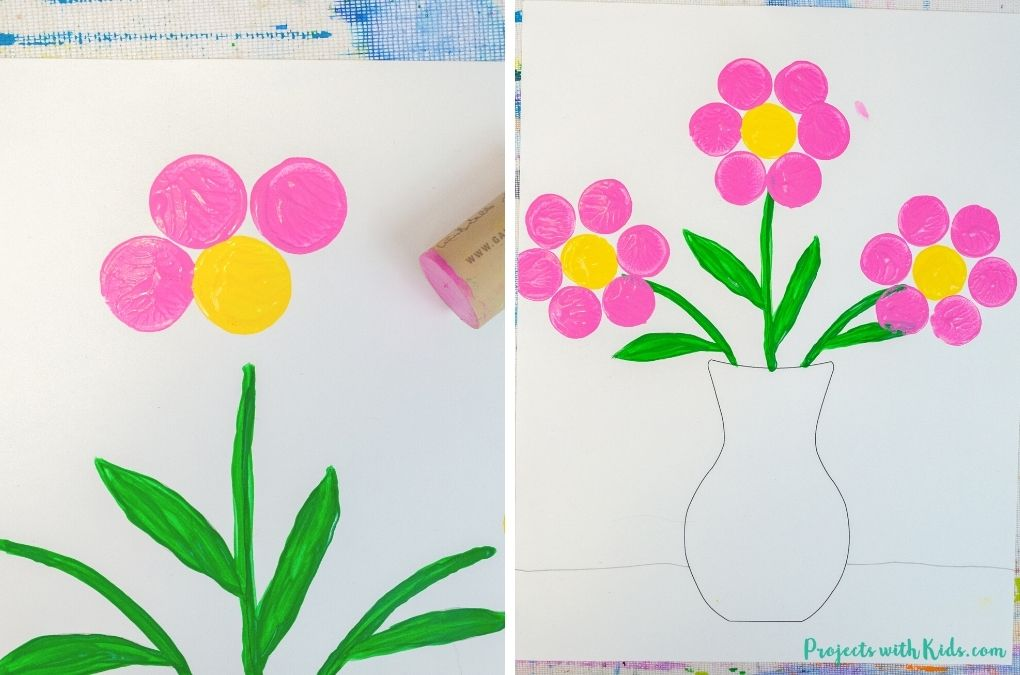 Using a cork to stamp flowers