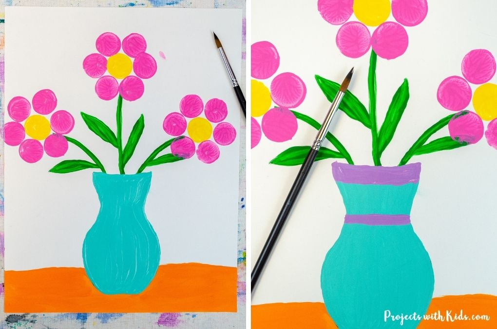 Vase painting with flowers kids art project idea