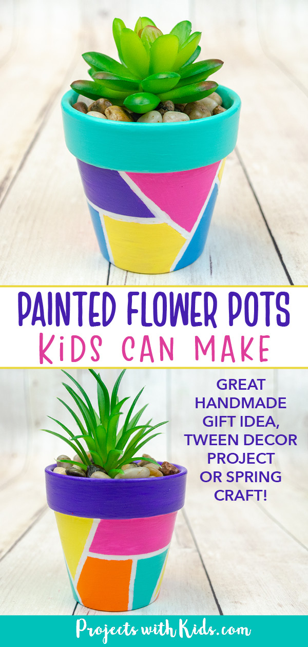 Terra cotta painted pots in a geometric design, handmade gift idea for kids to make.