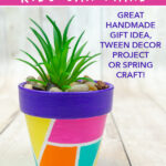 Geometric painted flower pots kids craft idea