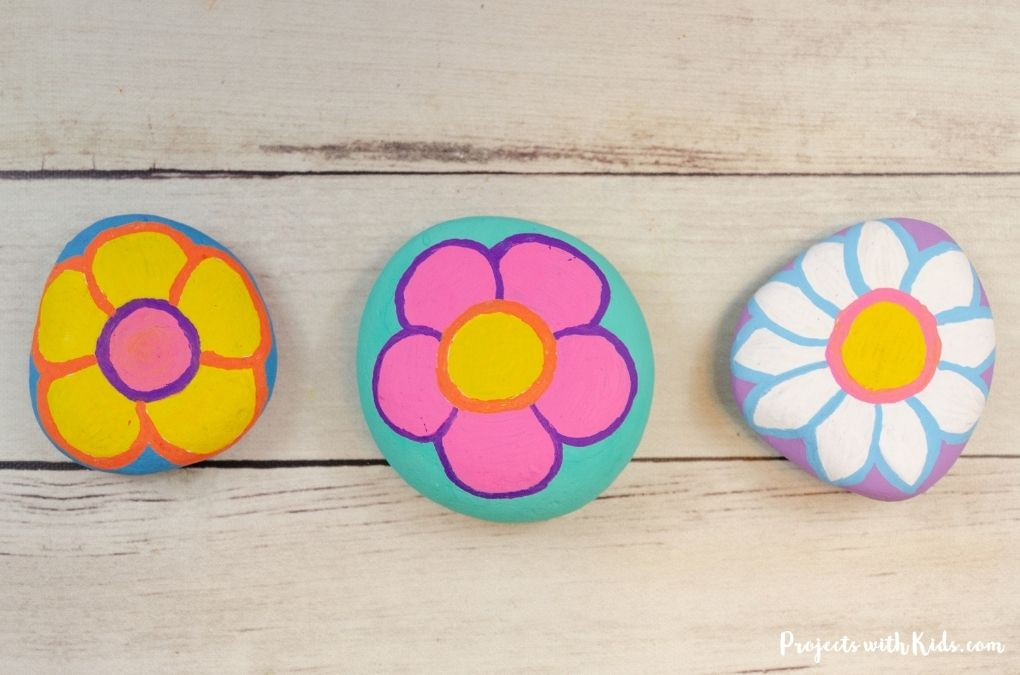 Flower rock painting idea for kids to make