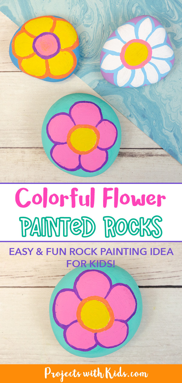 flower painted rocks for kids to make