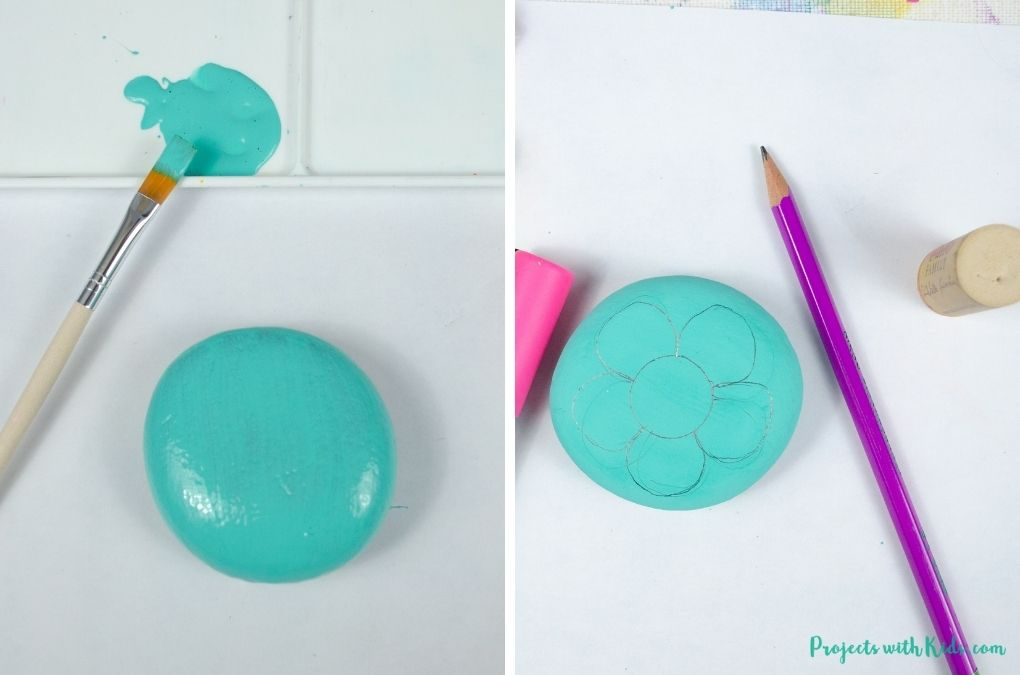 Painting a rock blue and drawing a flower on a rock with a pencil.