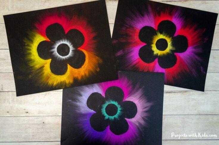 3 different chalk pastel flower art project for kids