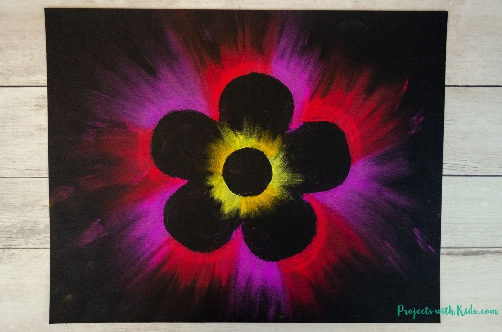 red and purple flower art project for kids