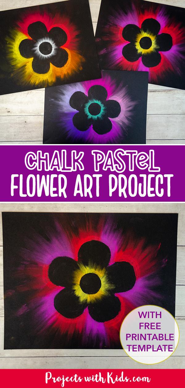 Flower art for kids using chalk pastels on black paper