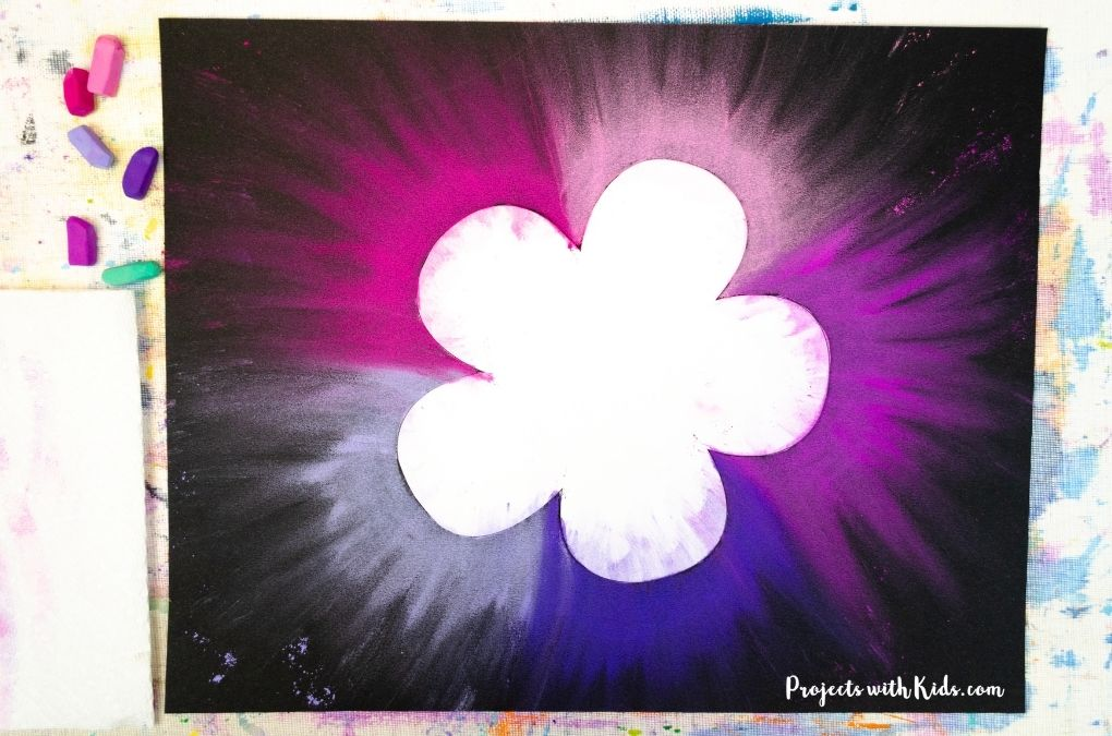 Purple and pink chalk pastel flower art project