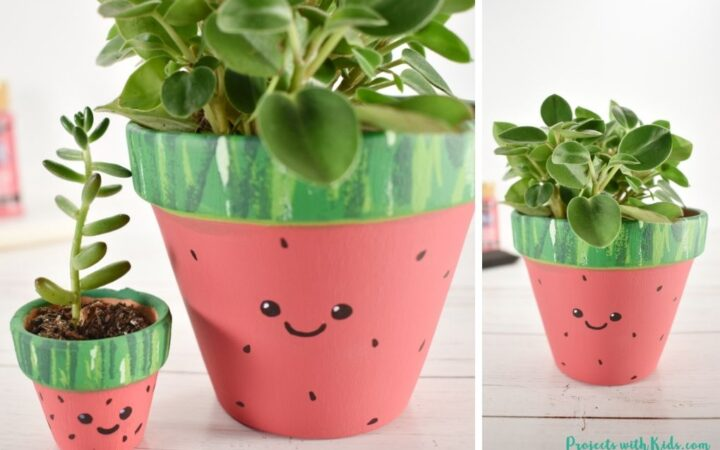 Watermelon painted flower pots easy kids craft