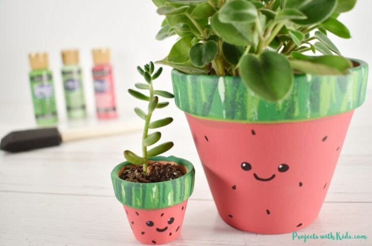 Watermelon painted flower pots for kids to make