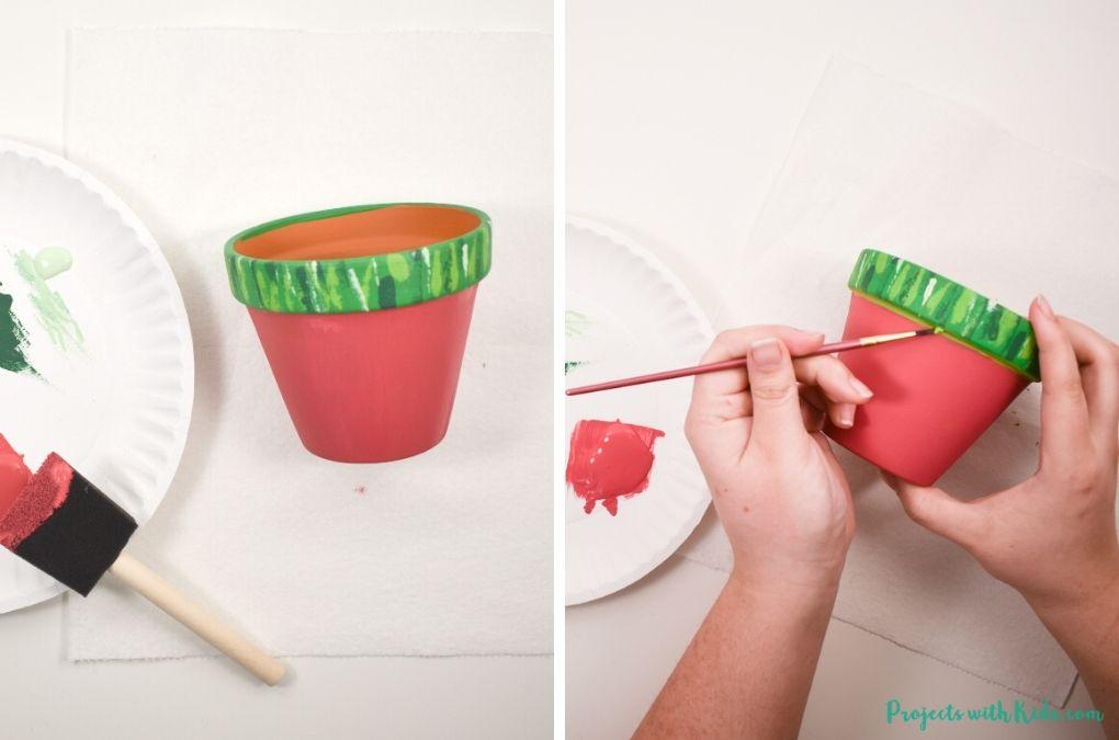 Painting a terra cotta pot pink