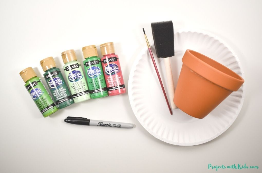 acrylic painting supplies and terra cotta pot
