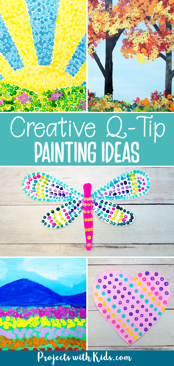 Q-tip painting ideas for kids including bundled q-tip painting ideas