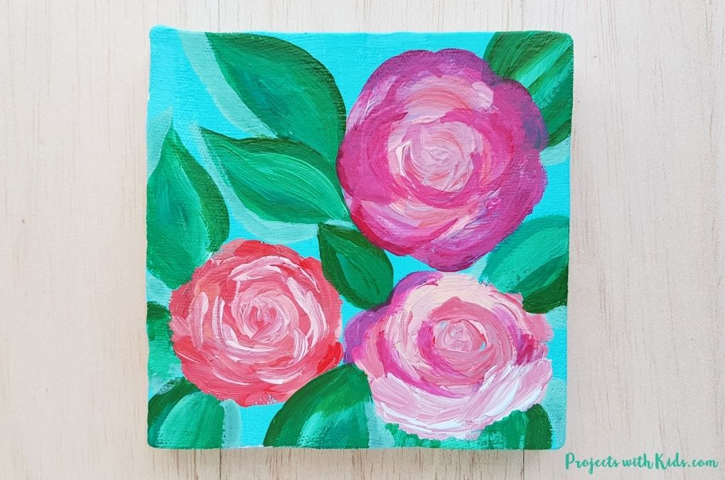 Rose painting tutorial art project for kids and tweens to make