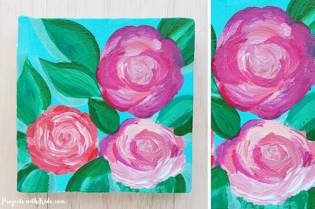 Rose painting using acrylic paint art project idea for kids