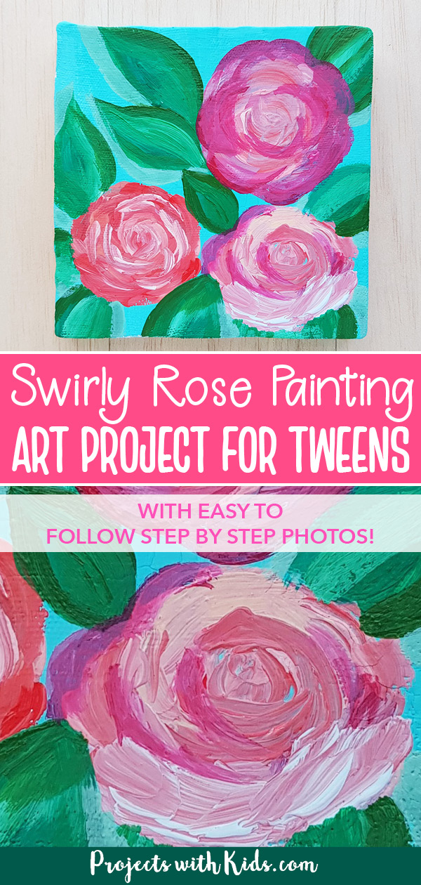 Simple rose painting tutorial art project