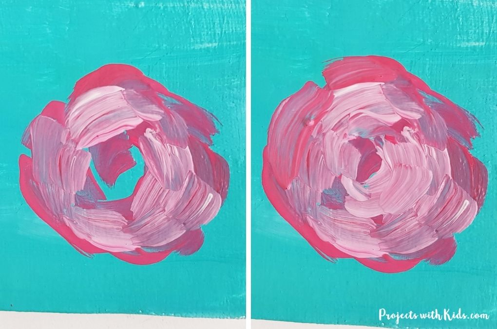 Adding light pink to a rose painting tutorial