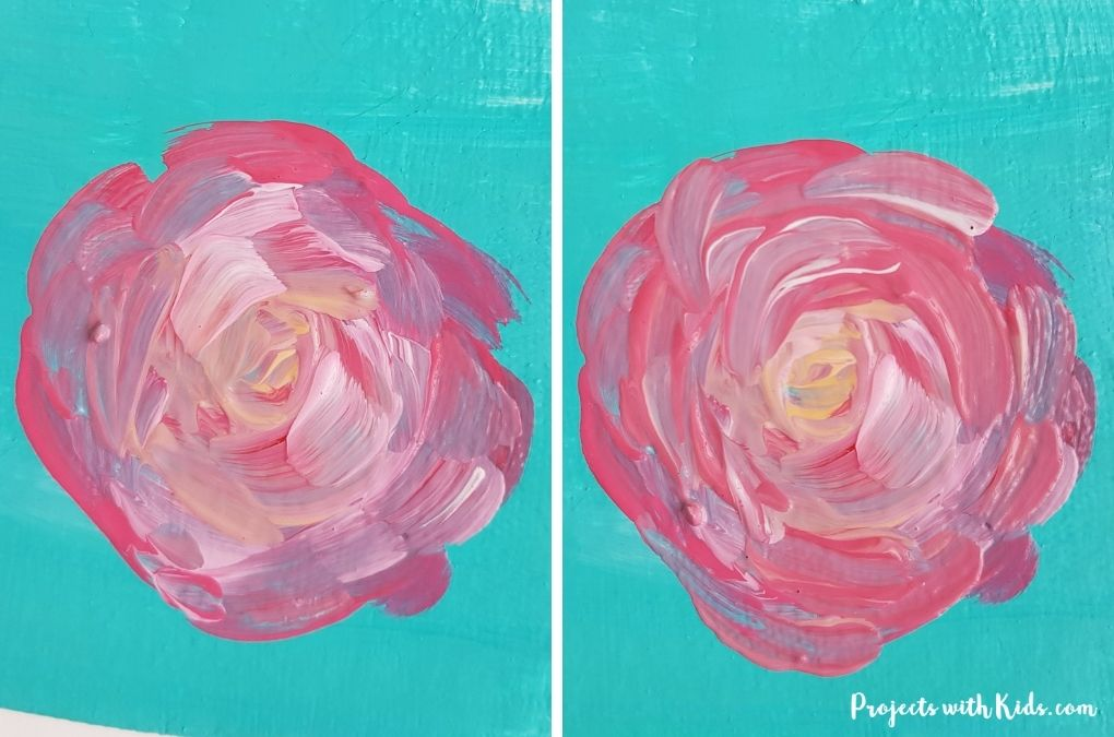 Adding more pink shades to a swirly rose painting project for kids