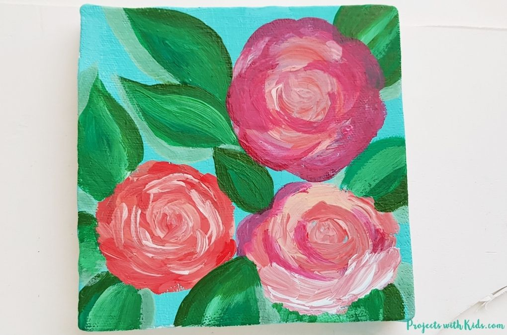 Painting in shading on a swirly rose art project for tweens and older kids