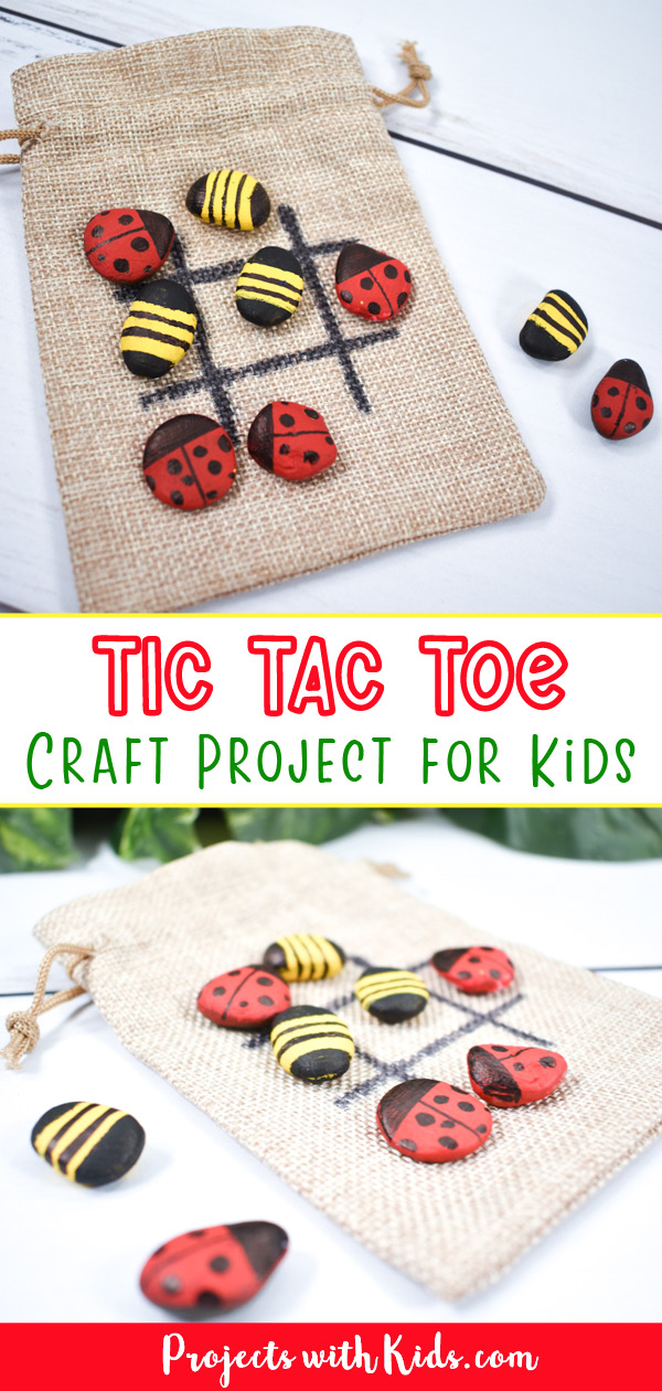 Tic tac toe rocks with ladybugs and bees kids craft idea