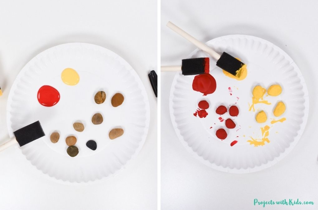 painting rocks with red and yellow acrylic paint