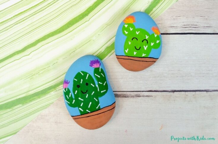 Cactus painted rocks for kids and tweens to make
