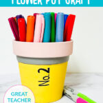 painted terra cotta pot to look like a pencil easy kids craft idea