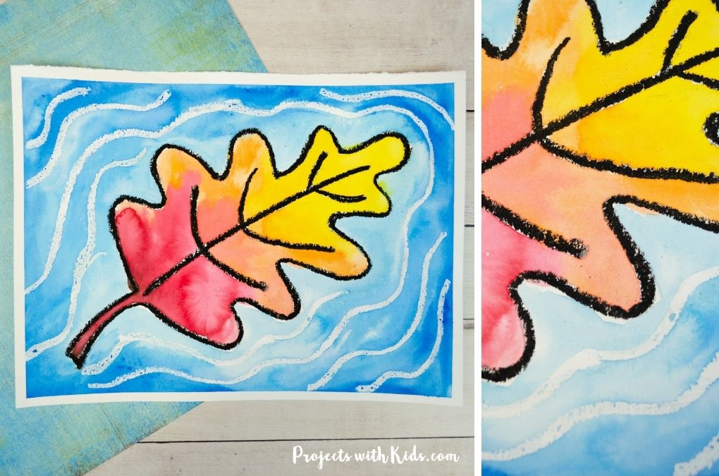 watercolor fall leaf art project for kids to make.