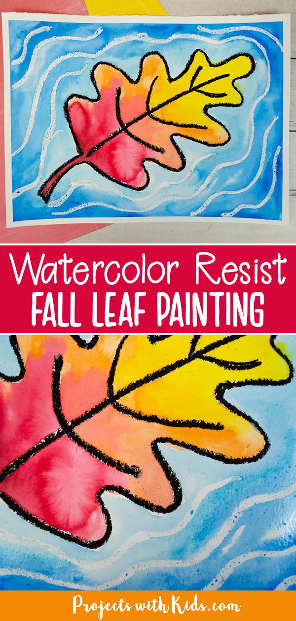 watercolor resist fall leaf painting kids art project idea