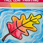 watercolor resist fall leaf painting