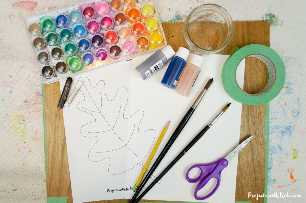 Watercolor resist art supplies.