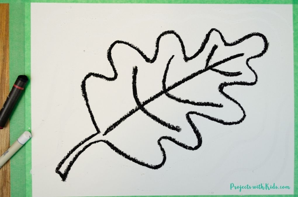 Outlining a leaf drawing with black oil pastel.