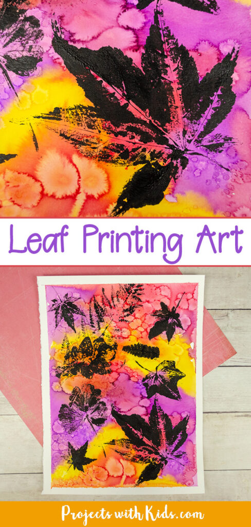Leaf printing with black acrylic paint on a colorful watercolor painted background.