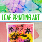 Leaf printing with acrylic paint on a watercolor painted background.
