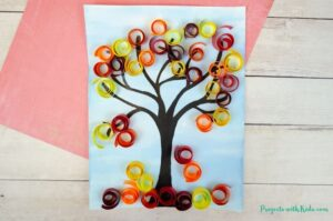 Autumn tree mixed media art project for kids